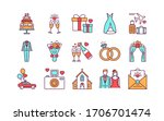 marriage color line icons set.... | Shutterstock .eps vector #1706701474