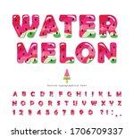watermelon summer bright font.... | Shutterstock .eps vector #1706709337