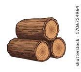 vector wooden logs. stack of... | Shutterstock .eps vector #1706724964