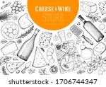 cheese and wine design template....