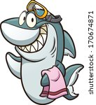 Cartoon Shark Wearing Goggles....