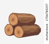 Vector Wooden Logs. Stack Of...