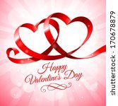 red ribbon hearts on a pink... | Shutterstock .eps vector #170678879