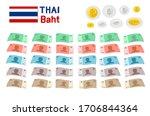 Thai Bath Banknones And Coins...