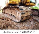 Excavator Track Closeup  Steel...