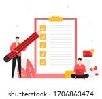 employees are checking the... | Shutterstock .eps vector #1706863474
