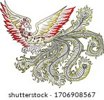 beautiful line art of phoenix... | Shutterstock .eps vector #1706908567