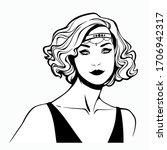 women hairstyle fashion retro... | Shutterstock .eps vector #1706942317