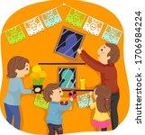 illustration of stickman family ... | Shutterstock .eps vector #1706984224