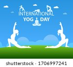 yoga poses silhouette with... | Shutterstock .eps vector #1706997241