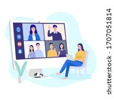 video conferencing at home ... | Shutterstock .eps vector #1707051814