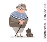 illustration with an old woman... | Shutterstock .eps vector #1707054811