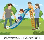 happy family on the holiday ... | Shutterstock .eps vector #1707062011
