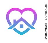 stay home heart sticker icon... | Shutterstock .eps vector #1707064681