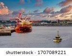 Heavy red tanker at port in Saint John, New Brunswick, Canada