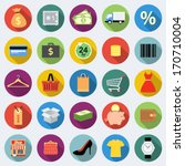 set of shopping icons in flat... | Shutterstock .eps vector #170710004