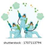 people in hazmat suits and...   Shutterstock . vector #1707113794