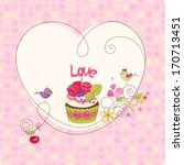 Card With Raspberry Cupcake An...