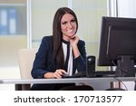 young happy business woman... | Shutterstock . vector #170713577