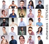 many people faces collage ... | Shutterstock . vector #170714231