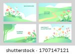 set of vector abstract summer... | Shutterstock .eps vector #1707147121
