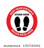 social distancing. footprint... | Shutterstock .eps vector #1707192541