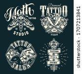 vintage tattoo studio prints...   Shutterstock . vector #1707213841