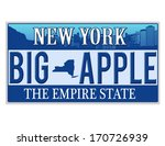 An imitation New York license plate with text BIG APPLE written on it making a great concept. Words on the bottom Empire State