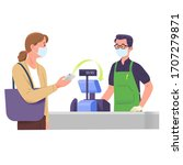 woman pay grocery to cashier... | Shutterstock .eps vector #1707279871