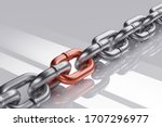Steel Chain With Red Link. 3d...