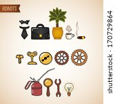 steampunk technology icons set...