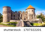 Medieval fortress ruins view. Fortress ruin. Fortress landmark. Medieval fortress