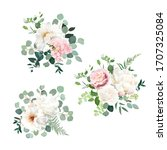 blush pink rose and sage... | Shutterstock .eps vector #1707325084
