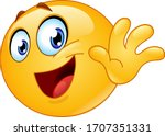 happy emoji emoticon waving...   Shutterstock .eps vector #1707351331