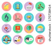 set of flat educational icons... | Shutterstock .eps vector #170738414