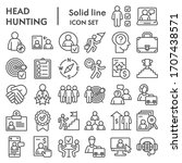 head hunting line icon set. job ... | Shutterstock .eps vector #1707438571