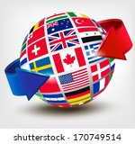Flags Of The World On A Globe...