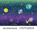 astronaut  planets and stars ... | Shutterstock .eps vector #1707518524