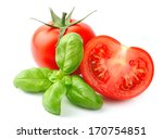 Tomatoes And Basil Leaves...