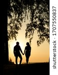 carefree and happy lovers on a... | Shutterstock . vector #1707550837
