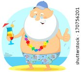 the old man on the beach... | Shutterstock .eps vector #170756201