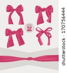 set of pink gift bows  | Shutterstock .eps vector #170756444
