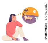 a girl daydream about vacation... | Shutterstock .eps vector #1707577807