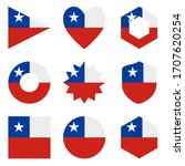 set of nine form chile. vector... | Shutterstock .eps vector #1707620254