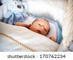 newborn cute baby boy lying in... | Shutterstock . vector #170762234