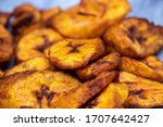Small photo of Ripe fried African plantain - local staple food served as meals with sauce or as a side dish in Nigeria, West Africa and other African countries. Deep Fried Nigerian Plantains ready to be served.