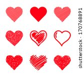 vector hearts set. hand drawn. | Shutterstock .eps vector #170768891