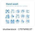 hand wash icons set  pixel... | Shutterstock .eps vector #1707698137