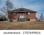 The abandoned Shamrock School one-room schoolhouse in Shamrock, Saskatchewan, Canada