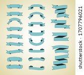 set of blue vintage ribbons.... | Shutterstock .eps vector #1707796021